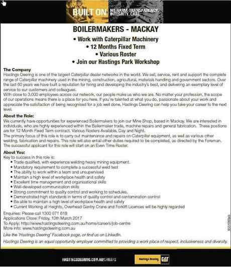 Hasting Deering is looking for eight boilermakers.