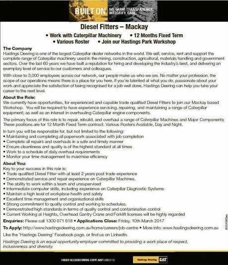 The company is looking for two diesel fitters.