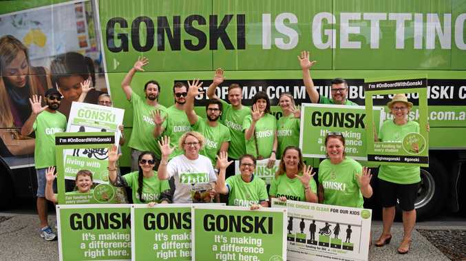 NEEDS-BASED FUNDS: Teachers from Emerald and surrounding districts supported the Gonski bus that came through town on Monday.