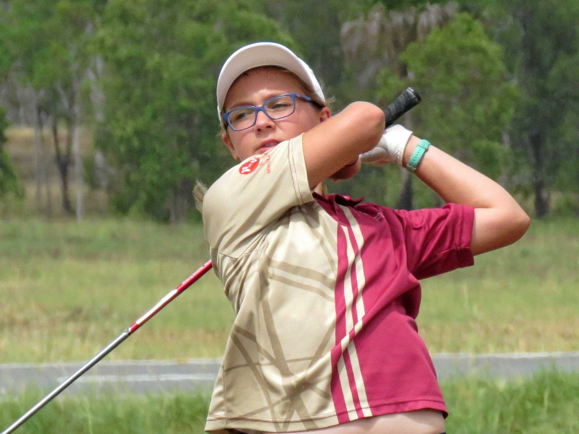 FORM: Noosa's Josie O'Brien watches the ball closely after a drive in an Invincibles Tour event.