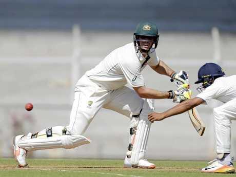 Mitchell Marsh batting in India.
