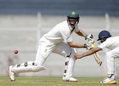Mitchell Marsh batting in India.