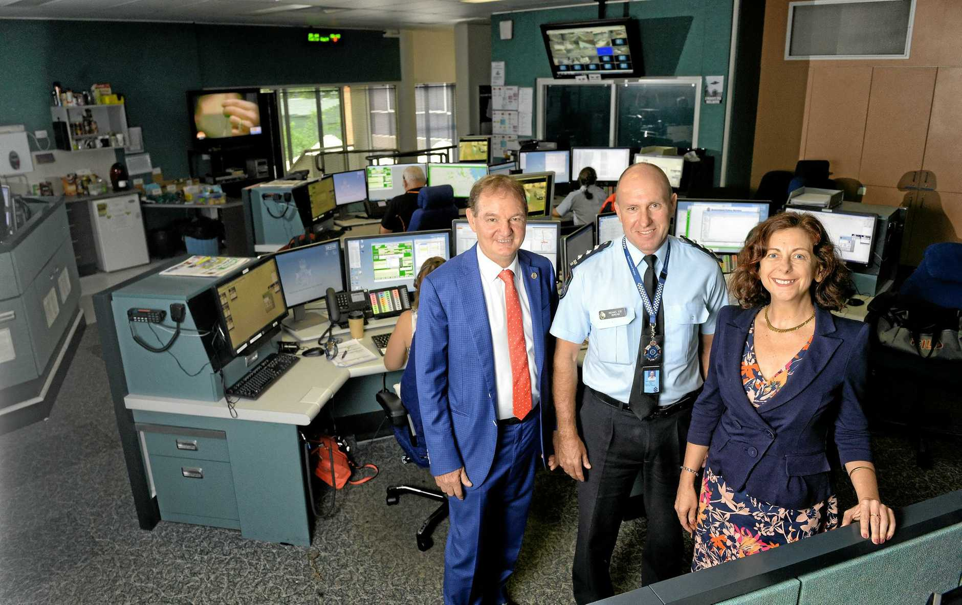 VICTORY: Ipswich Mayor Paul Pisasale, Inspector Michael Ede and Ipswich MP Jennifer Howard are delighted with the $1 million upgrade of the Ipswich Police Communications Centre.