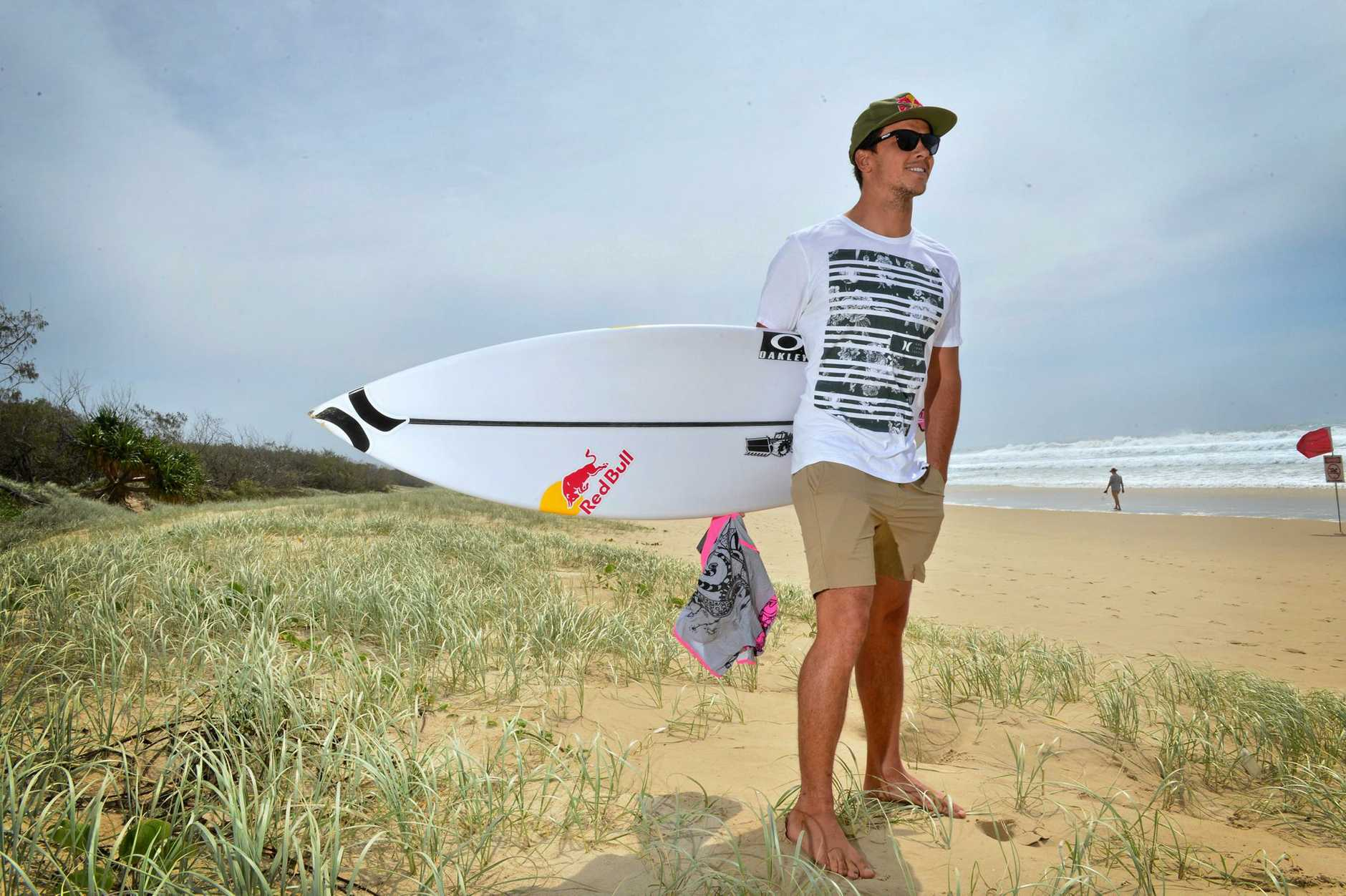 BIG YEAR: Peregian Beach surfer Julian Wilson will again wear his pink board shorts at the 2017 Quiksilver Pro.