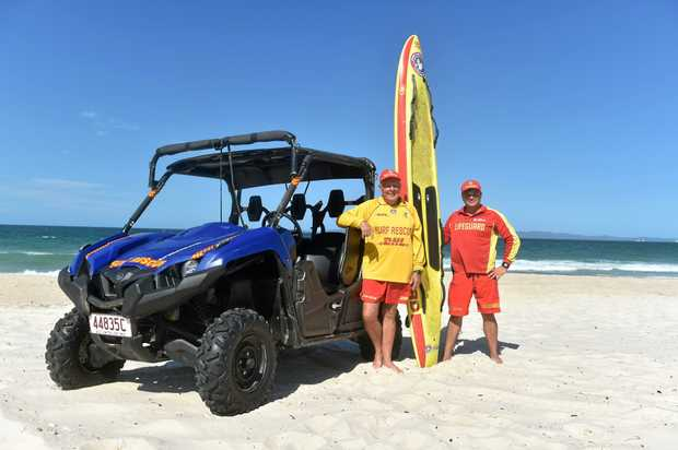 SURFS UP: Woorim lifesavers Adrian Harvey and Hayden Cummer kept a watchful eye over Bribie's surf beach this summer.