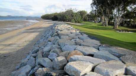 The McEwans Beach rock wall.