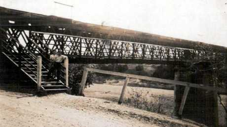 The original rail bridge over the Pioneer River at Mirani was destroyed on March 31, 1956.