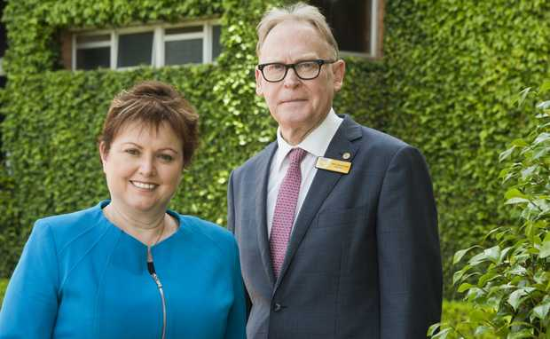 USQ Chancellor John Dornbusch and former Vice-Chancellor Jan Thomas. The university should name her successor by the middle of this year.