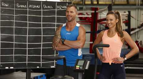 Trainers Shannan Ponton and Libby Babet in a scene from the TV series The Biggest Loser: Transformed.