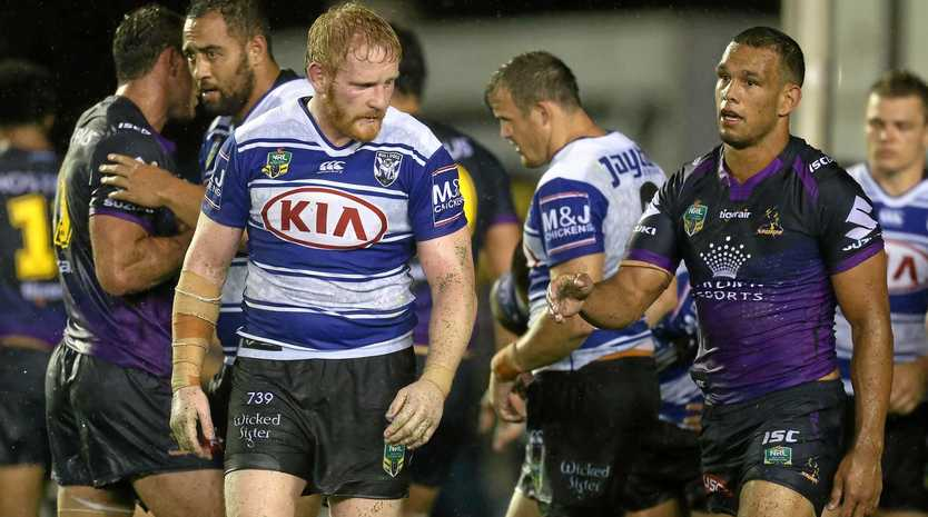James Graham and Will Chambers after the Round 1 NRL match between the Canterbury-Bankstown Bulldogs and the Melbourne Storm at Belmore Sports Ground in Sydney, Saturday, March 3rd, 2017. (AAP Image/Craig Golding) NO ARCHIVING, EDITORIAL USE ONLY