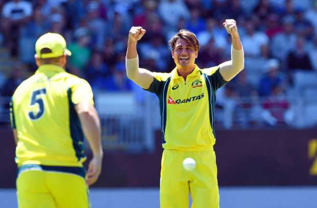 Marcus Stoinis of Australia celebrates after Aaron Finch took the catch off his bowling to dismiss Colin Munro of New Zealand for 2 in the Chappell Hadlee one day cricket match between the New Zealand and Australia at Eden Park, Auckland, New Zealand, January 30, 2017.  (AAP Image/SNPA, Ross Setford) NO ARCHIVING, EDITORIAL USE ONLY
