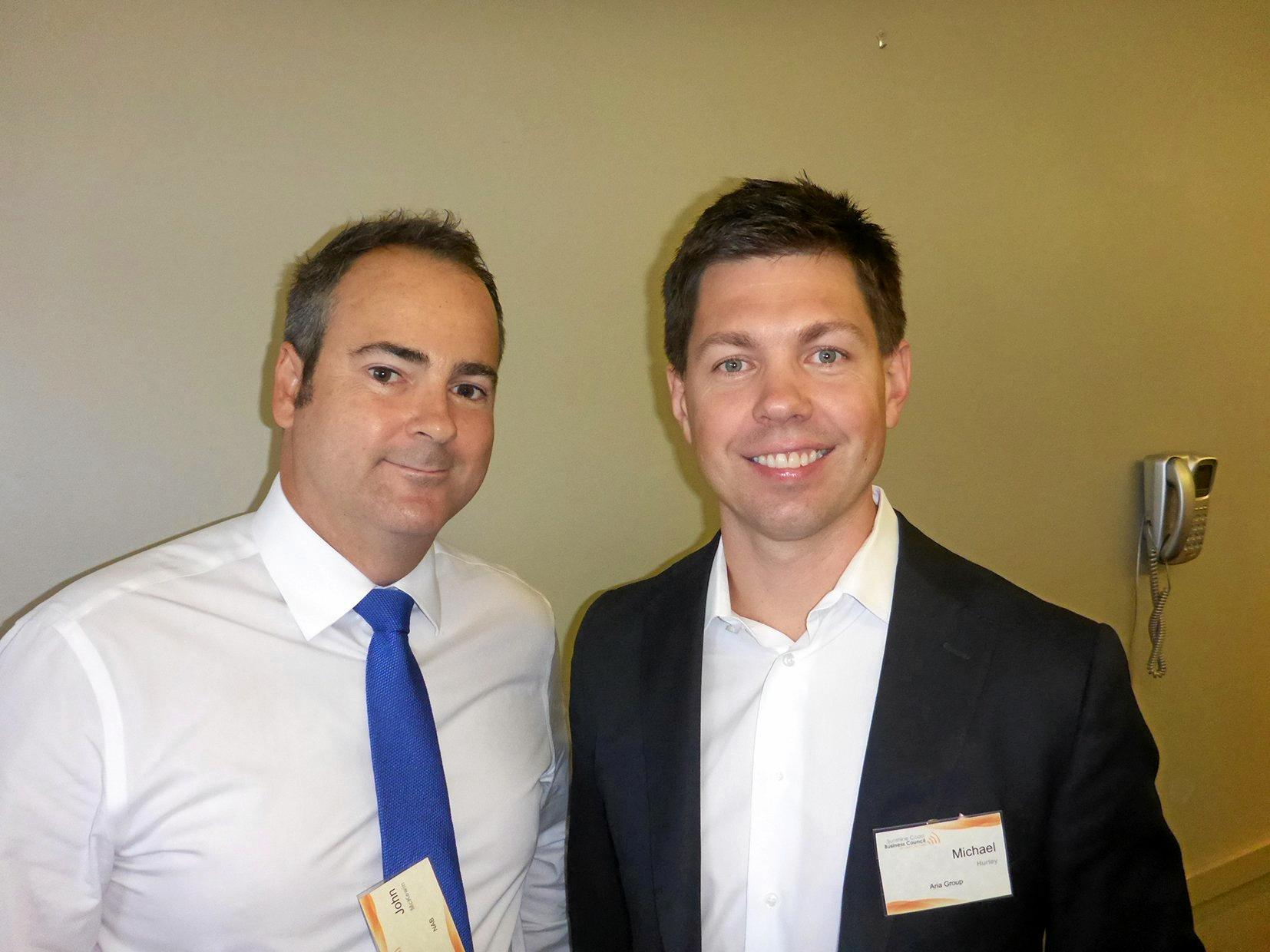 John McKewin and Michael Hurley catch up at the Sunshine Coast Business Council strategic discussion.