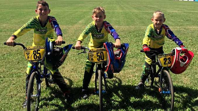 Denzell, Kai and Jayvier English at the Proserpine Super Saturday BMX carnival.