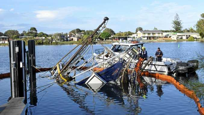 TRAGIC: Wooden prawn trawler, the Claudia Rose, sunk to the bottom of the Yamba Harbour this morning.