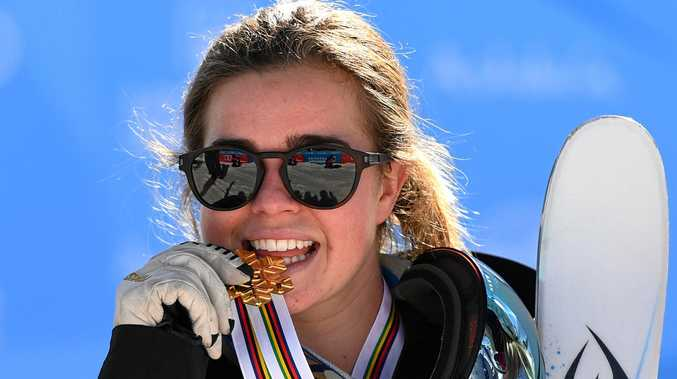 Britt Cox of Australia during the medal ceremony for the women's moguls at the world championships in Spain.