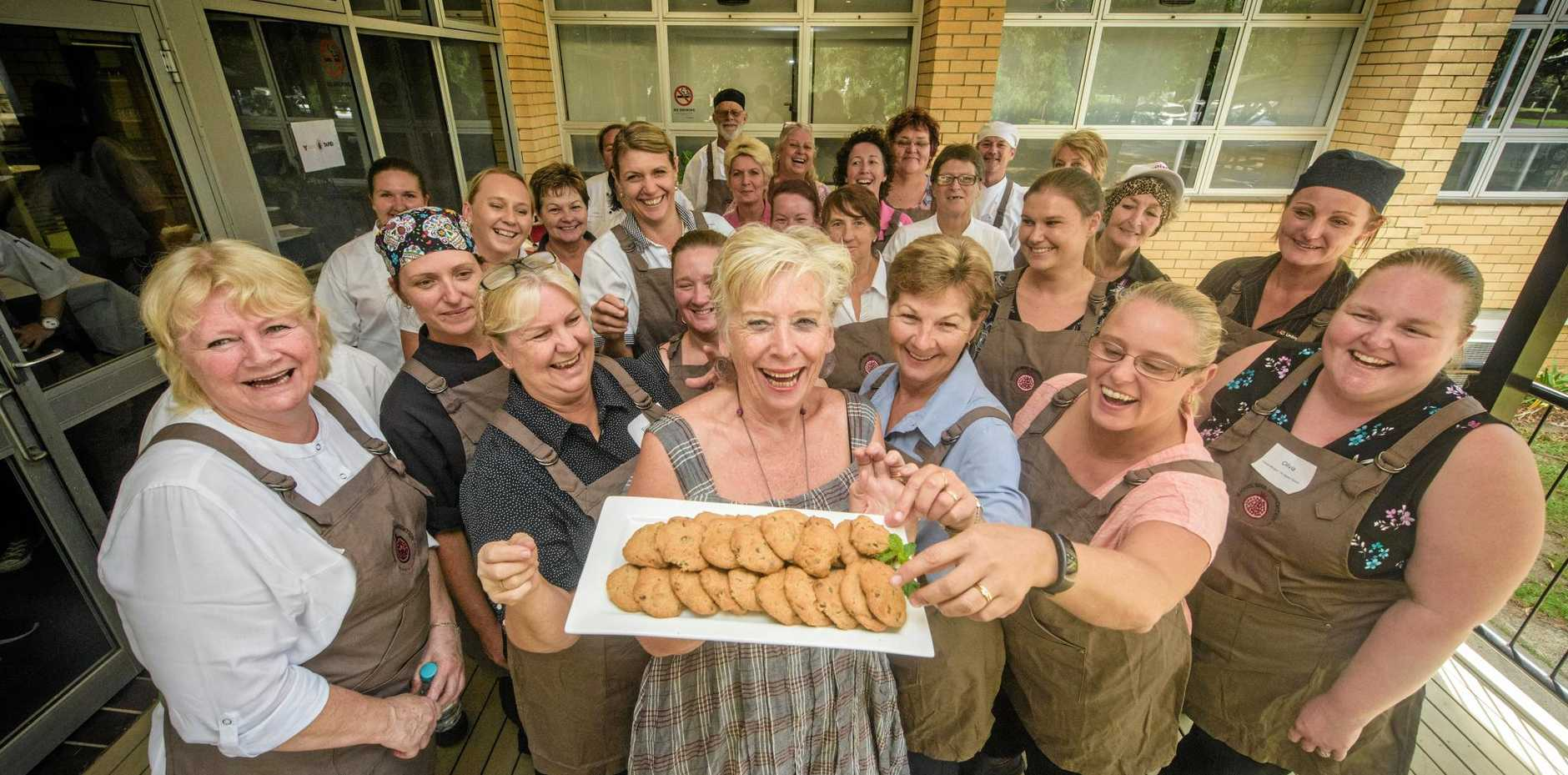 Maggie Beer is surrounded by food workers from local aged care homes as part of her Maggie Beer Foundation series of talks at the Grafton campus of TAFE.