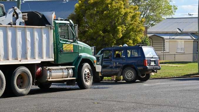 A truck an a car collided on Haly St this afternoon.