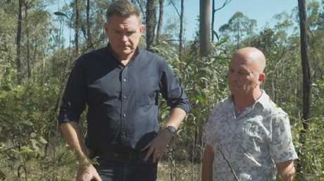 Murder Uncovered's Michael Usher with Graham Stafford at the site where Leanne's body was found in 1991.