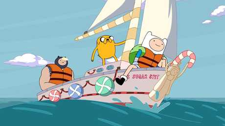 A scene from the animated TV series Adventure Time. .