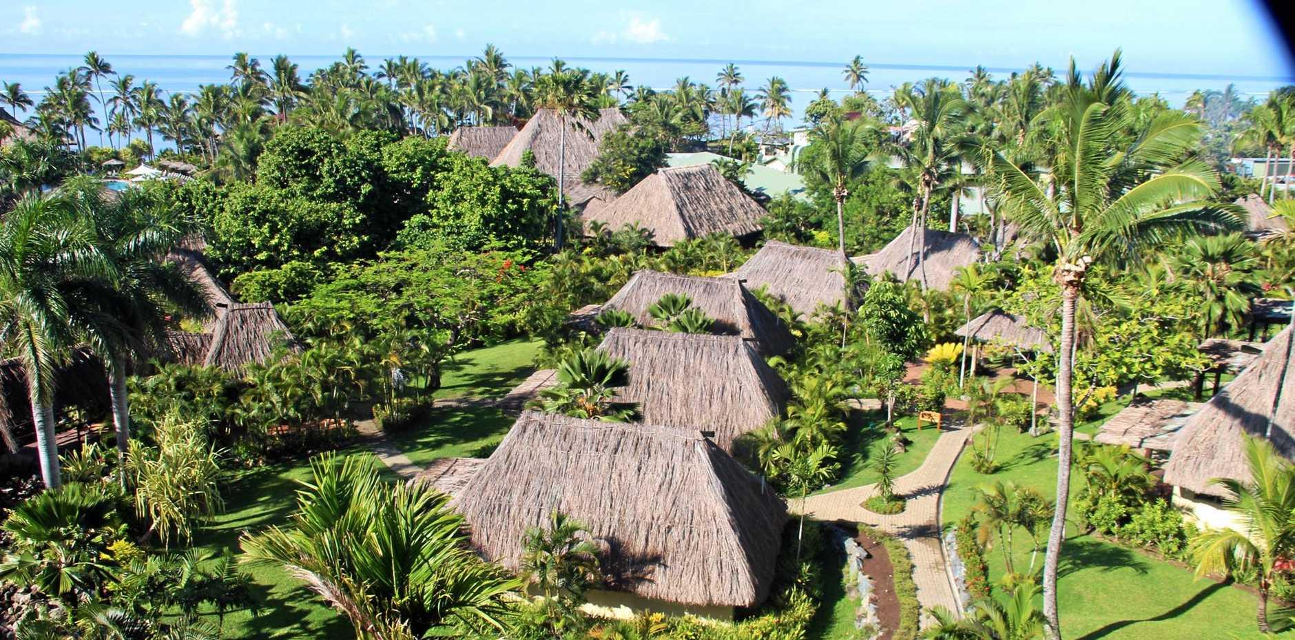 ISLAND LIFE: The resort is set up like a Fijian village.