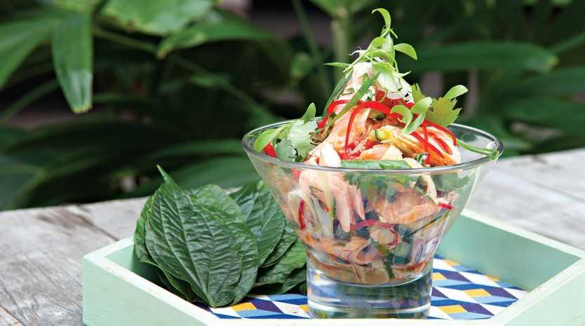 Peter Kuruvita's smoked ocean trout and Asian salad with nam jim.