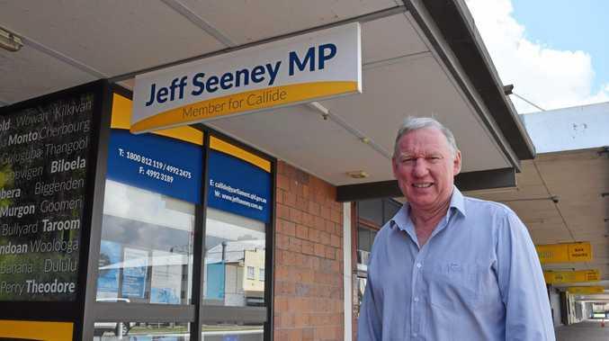 HANGING IT UP: Callide MP Jeff Seeney outside his Biloela office.