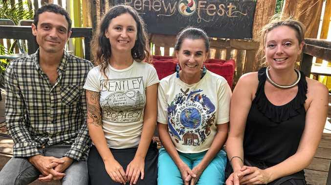 LIFT-OFF: Creative Foundation director Adam Collett with Renew Fest's Ella Rose Goninan, Kamala Rose and Svea Pitman.