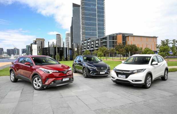 Toyota C-HR, Mazda CX-3 and Honda HR-V.