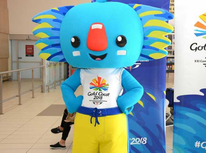 Gold Coast 2018 Commonwealth Games mascot Borobi greeting international passengers at Gold Coast airport on Wednesday, May 25
