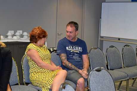 Minister for Bundamba Jo-Ann Miller with black lung victim Stephen Mellor.