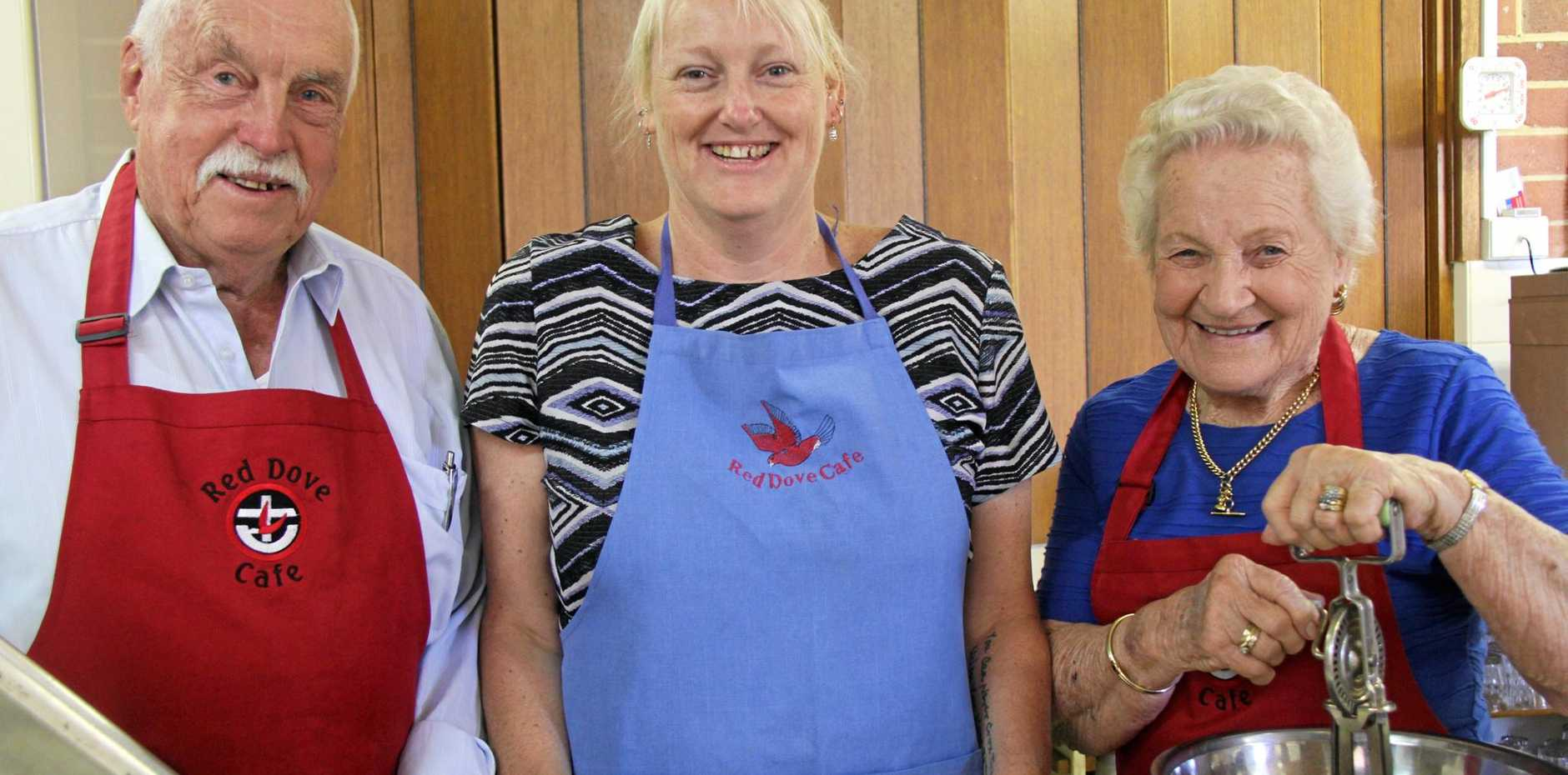 Lismore Regional Mission's pastoral support assistant Evelyn Daley is flanked by volunteers John Mace and Lola Ingram ahead of a fundraising event to help school children start the day  with a good breakfast.