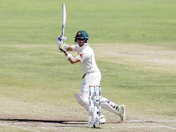 Australian captain Steve Smith bats in India.