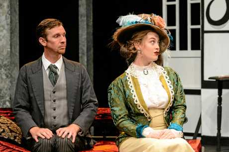 Raymond Sinnamon as John Worthing JP and Isabella Beutel as Hon Gwendolen Fairfax. Photo Contributed: Paul Beutel.