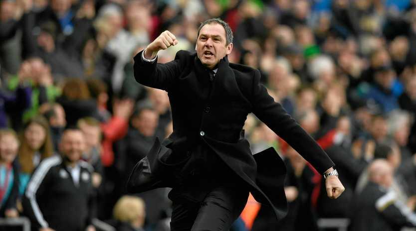 Swansea manager Paul Clement celebrates his side's winner against Burnley.