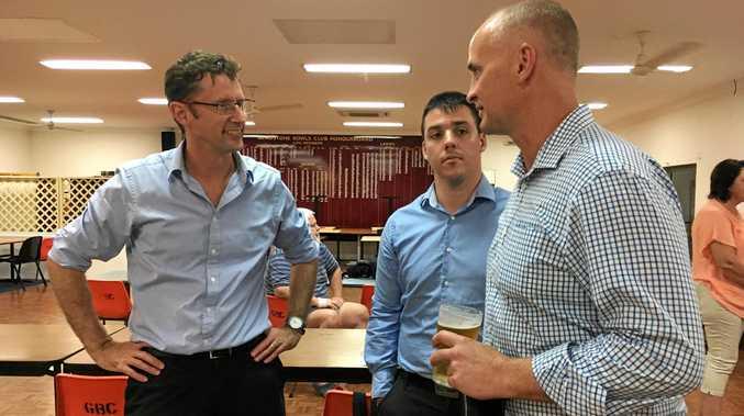 HOT TOPIC: Labor's regional Australia spokesman Stephen Jones MP, Zac Beers and Gladstone MP Glenn Butcher at a community meeting on Thursday night.