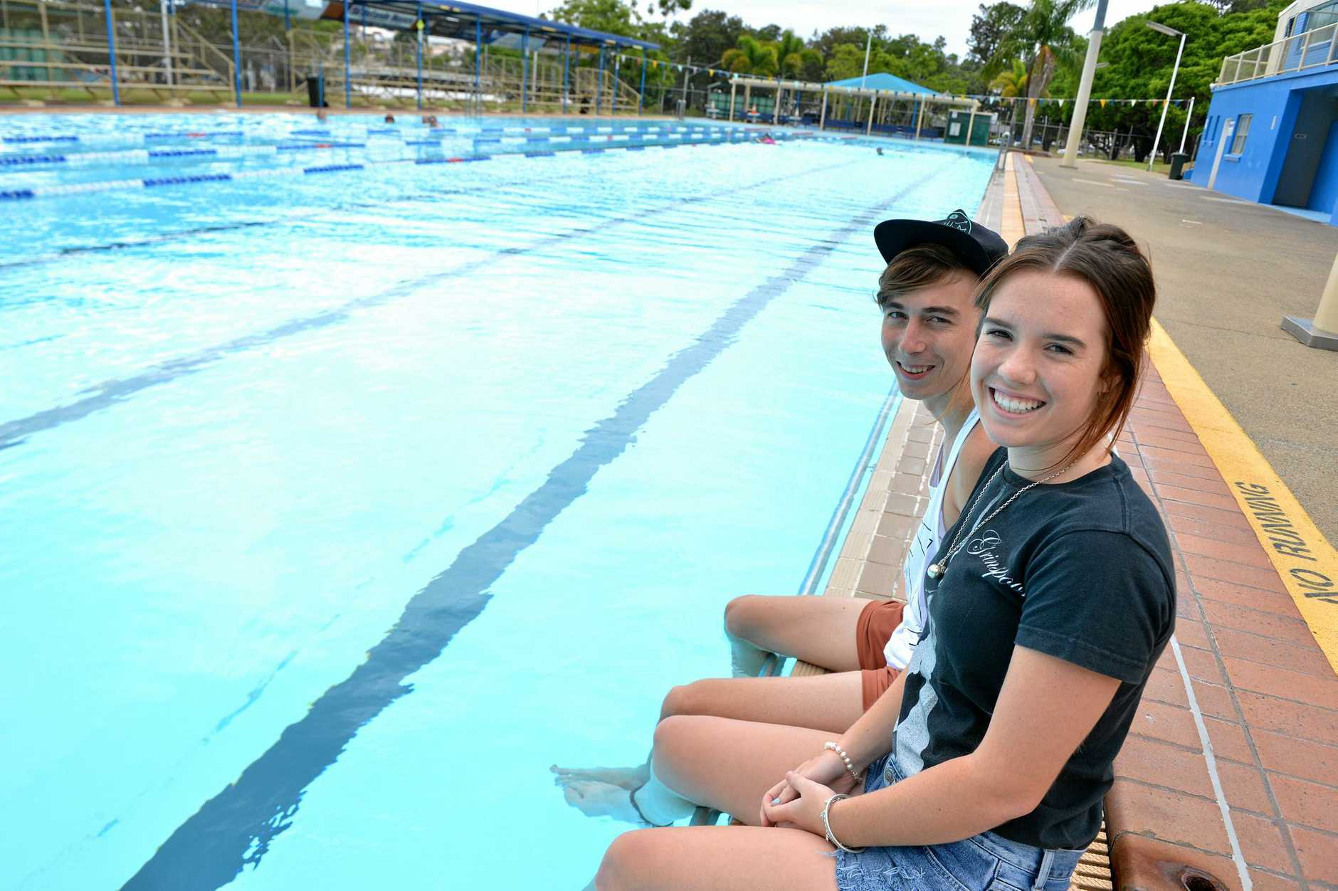 Lachlan Manthey and Siobhan Millard chilling at the Gympie pool.  Photo Renee Pilcher / The Gympie Times