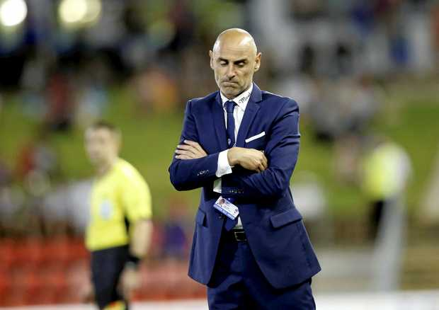 Melbourne Victory coach Kevin Muscat reacts after a jets attack during the round 19 A League match between the Newcastle Jets and Melbourne at McDonald Jones  stadium in Newcastle on Monday, Feb 13th,  2017. (AAP Image/Darren Pateman) NO ARCHIVING, EDITORIAL USE ONLY