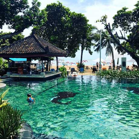 COOL BLUE: The inviting pool at the Besakih Hotel on the beachfront at Sanur.