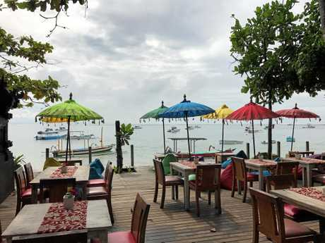 COLOURFUL: A gorgeous beachfront cafe at Sanur.