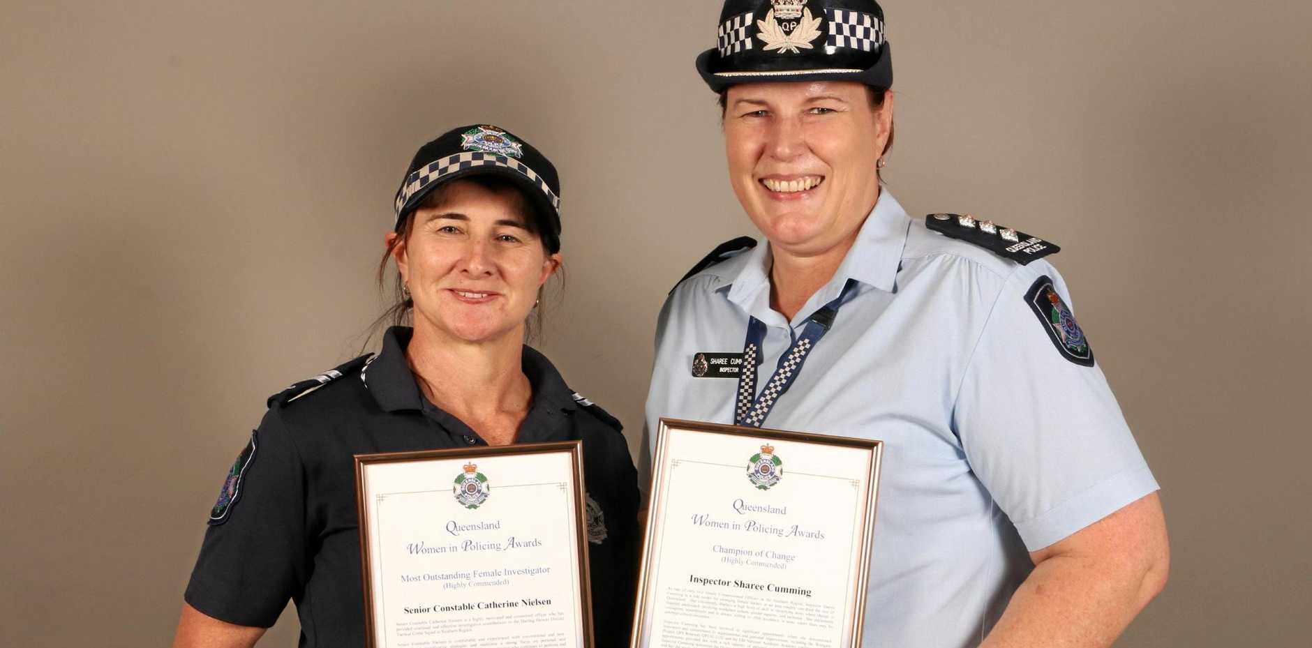 OUTSTANDING: Senior Constable Cath Neilsen of Toowoomba Tactical Crime Squad and Inspector Sharee Cumming of Country Patrol and Support Services.