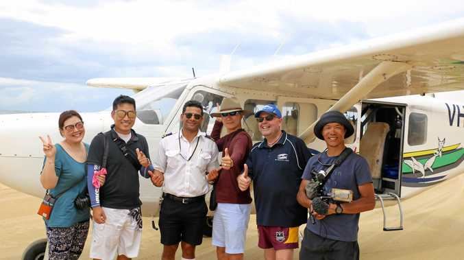 The KBS crew with Air Fraser Island and FCTE representative Mark Juppenlatz.