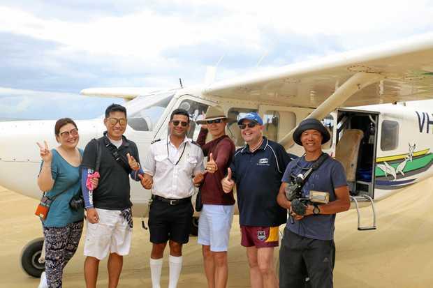 The KBS crew with Air Fraser Island and FCTE representative Mark Juppenlatz.