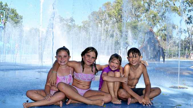 Lilly Keller, Tiani Rowsell, Kya Rowsell and Noah Keller at WetSide Water Park on Friday.