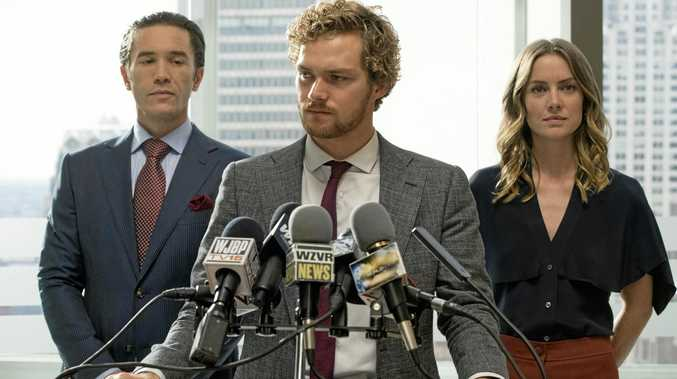 Tom Pelphrey, Finn Jones and Jessica Stroud in a scene from Marvel's Iron Fist.