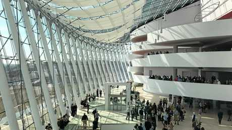 The light-filled lobby of the Kauffman Center for Performing Arts in Kansas City, Missouri. Must credit photo to Seanna Cronin.