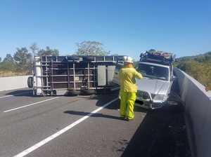 Extensive Bruce Hwy delays after caravan rollover