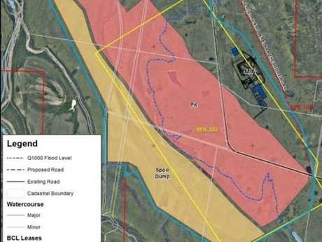 HUGE MINE: The mining lease area is outline in blue.