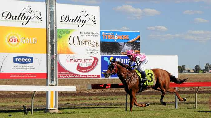 Tisani Tomso and apprentice Sally Sweeney completing their victory in today's Dalby Newmarket (1200m) at Bunya Park.