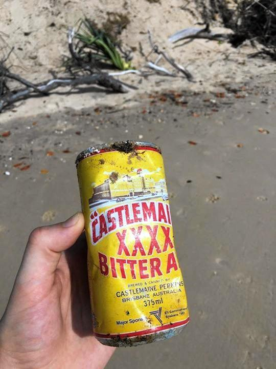 GREAT FIND: Beachgoers have come across some special 1982 Commonwealth Games edition tinnies at a local beach. Photo Contributed