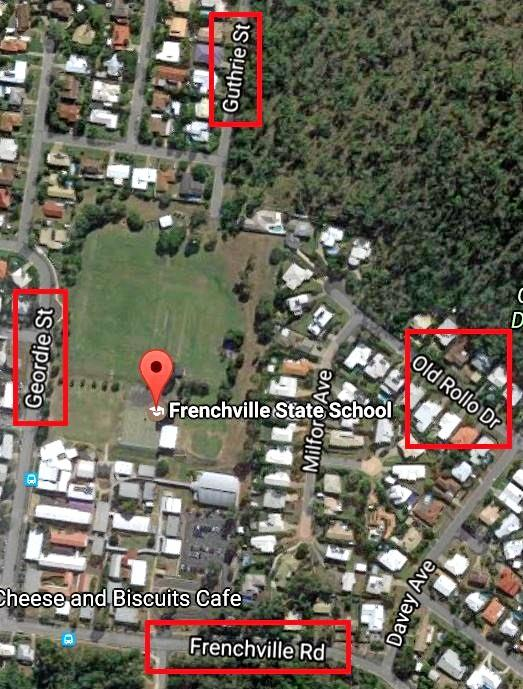 Council will cease to mow footpaths surrdounding the Frenchville State School including along Geordie St, Guthrie St, Old Rollo Dr and Frenchville Rd.